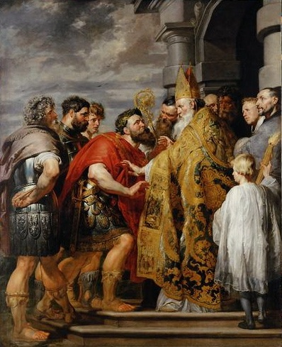 Church discipline? (Rubens's classic image, Saint Ambrose forbids emperor Theodosius I to enter the church)