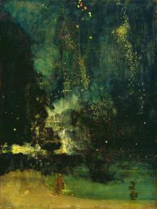 This painting ('Nocturne in Black and Gold, the Falling Rocket' by James McNeill Whistler was compared by one art critic with flinging a pot of paint in the public's face