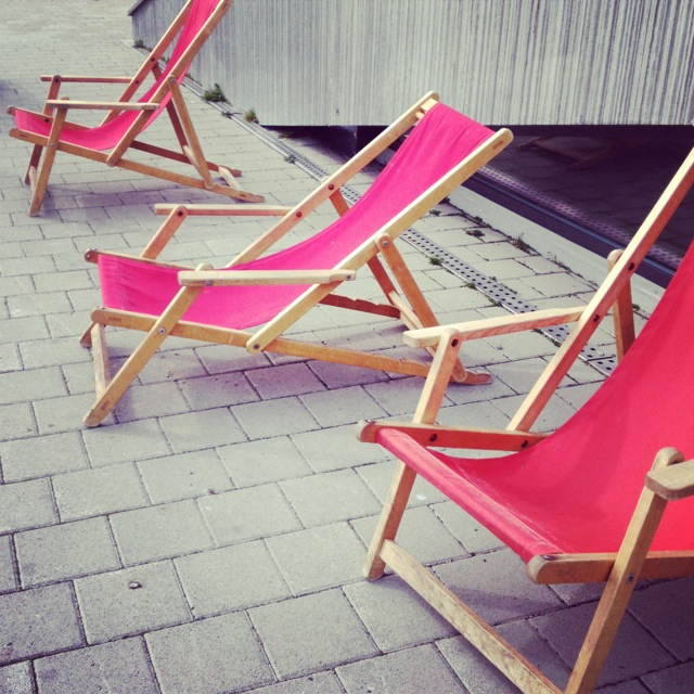 Deck chairs on the top of Mt Pilatus, high in the Swiss Alps